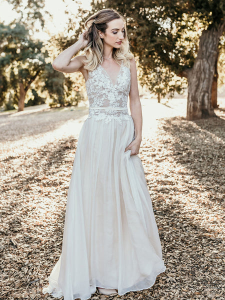 Charming V-neck Sleeveless A-line Lace Long Wedding Dresses.PB1247