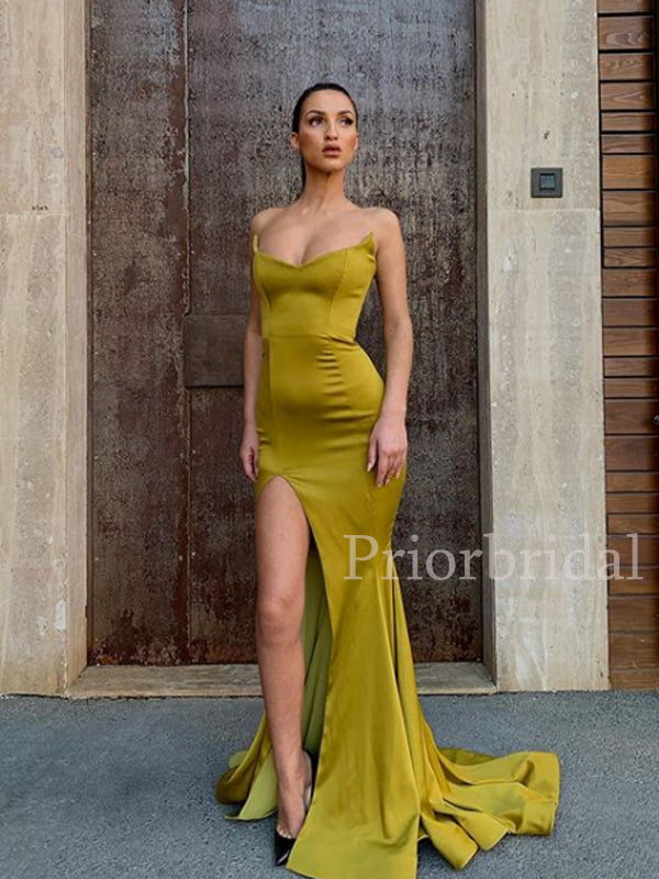 Sweetheart Satin Side Slit Mermaid Evening Party Long Prom Dresses.PB1092