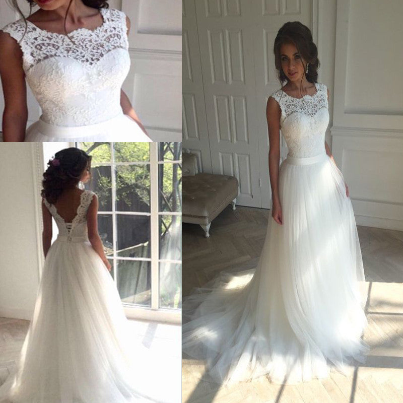 Long Sleeveless U-Neck Lace Tulle Train Deep V-back Lace UP back Sash Wedding Dress. RG0187