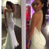 Long White Beaded Hater Unique Style Vintage Mermaid Formal Evening Party Prom Dresses. RG0113
