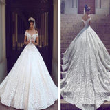 Chic Design Hi-low Straight Neck Off Shoulder Gorgeous White Lace Wedding Dresses, WD164