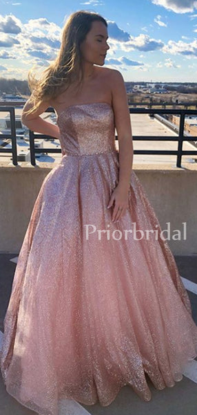 Straight A-line Sequin Long Prom Dresses Evening Dresses.PB1039