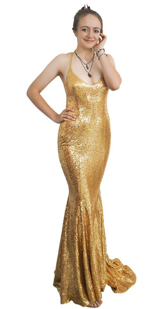 Mermaid V-neck Sequin Open Back Evening Party Long Prom Dresses.PB1094