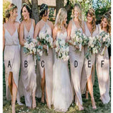 Long Gray Spaghetti Straps With Slit Charming Formal Bridal Bridesmaid Dress. PG001