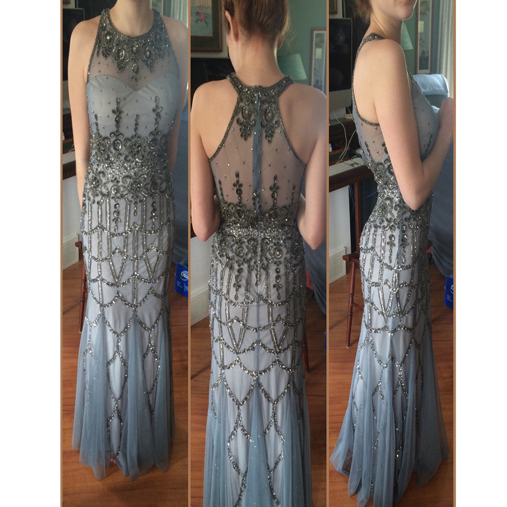 Beautiful Modest Sparkly Sexy Sliver Gray Evening Prom Gowns Dresses.  RG0011