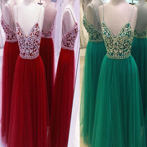 Vintage Spaghetti Straps V-Neck Open Back A-line Elegant For Teens Long Prom Dresses. RG021