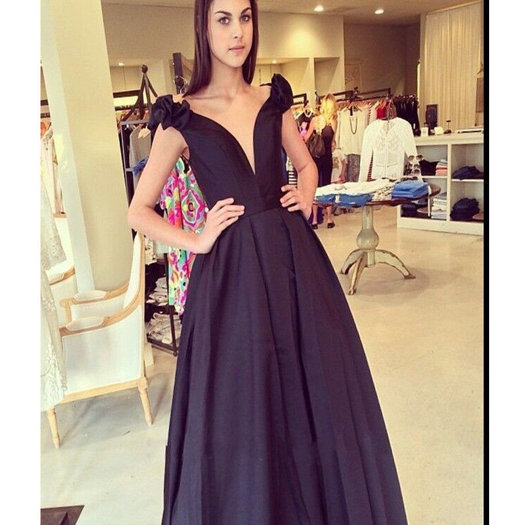 Long Black Ball Gowns Simple Formal V-Neck Prom Dresses. RG0014