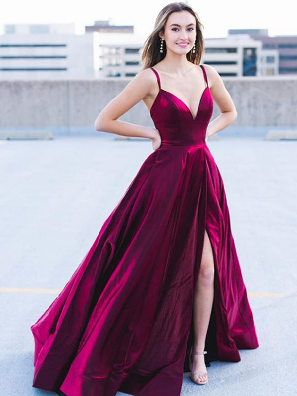 Sexy Spaghetti Strap Hot Sale Side Slit Satin Simple Lace Up Back Long Prom Party Dresses. PD1158