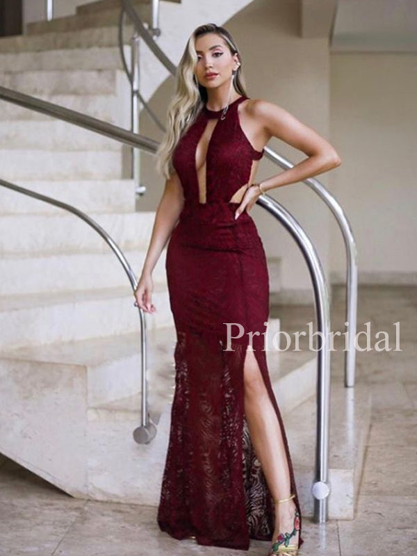 New Arriva Halter Lace Mermaid Side Slit Long Evening Prom Dresses.PB1103