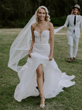 Vintage Sweetheart Tulle Lace Mermaid Sleeveless Side Slit Long Wedding Dresses.PB1257