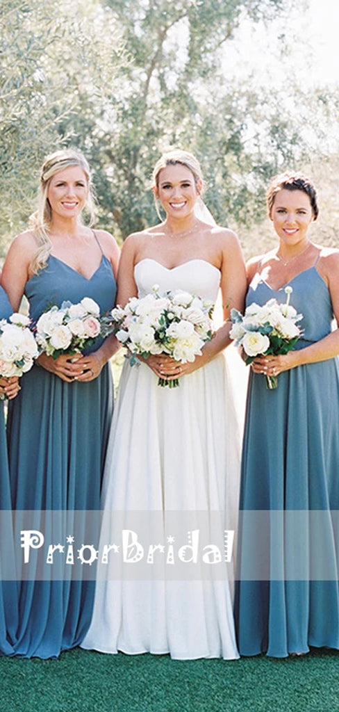 Sky Blue Chiffon Spaghetti Straps Summer Wedding Bridesmaid Dresses,PB1043