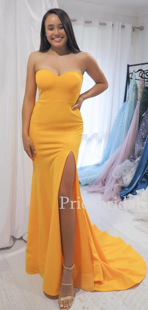 Mermaid Sweetheart Satin Side Slit Evening Party Long Prom Dresses.PB1095