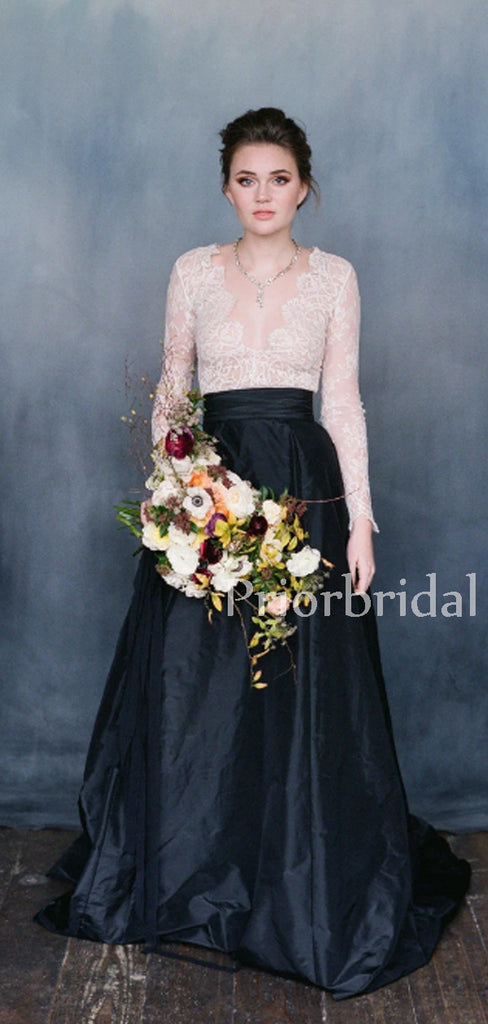 Beautiful Deep V-Neck Two-piece See-through Lace Satin Long Wedding Dresses.PB1132