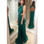 Long Green Open Back Chiffon Simple Elegant O=Neck Sexy Prom Dresses. RG0015
