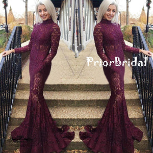 High Neck Long Sleeve Full Lace Beaded Modest Mermaid Prom Dresses,PB1046