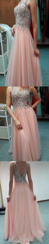Long Pink Beading Sparkly Elegant Sexy Open Back Formal Evening Prom Dresses. RG0051