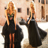 Popular Flower Embroidery Black Tulle Spaghetti Strap A-line Prom Dresses,PB1051