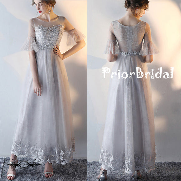 Light Grey Lace  Horn Half Sleeve See-through Back Junior Prom Dresses,PB1047