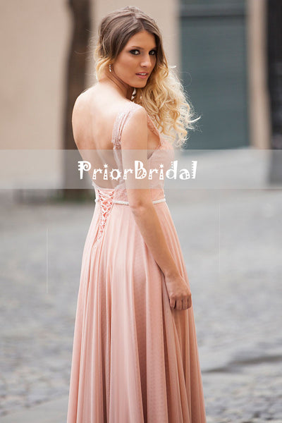 Blush Pink Lace Elegant Scoop Neck lace Up Back Sleeveless A-line Prom Dresses,PB1054