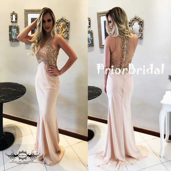 Gorgeous Beaded Rhinestone See Through Back Mermaid Prom Dresses,PB1053