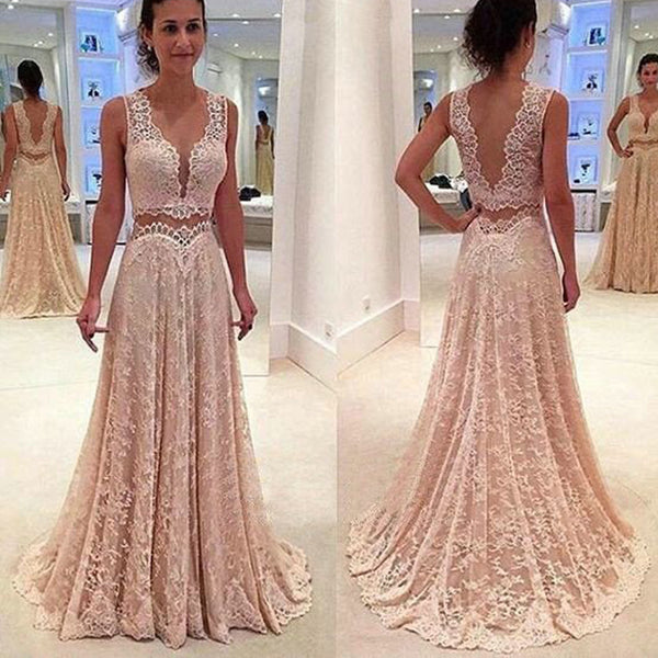Lace Two Pieces Floor Length For Teens Long Party Prom Dresses. RG0201