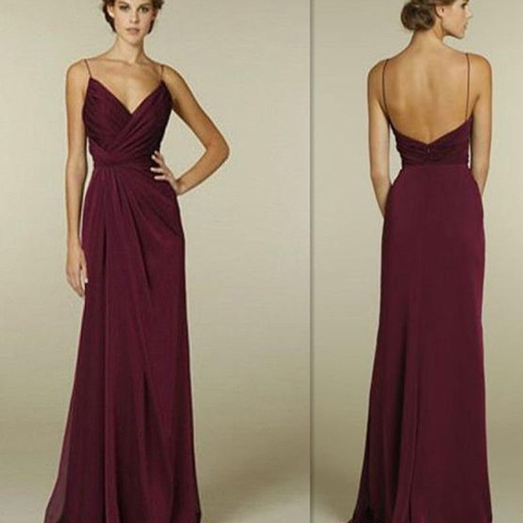 Maroon Wedding Gown: Maroon Spaghetti Straps V-neck Simple Open Back Long