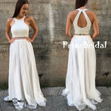 Ivory Stunning Two Piece Halter Beaded Top Open Back Junior Prom Dresses,PB1052