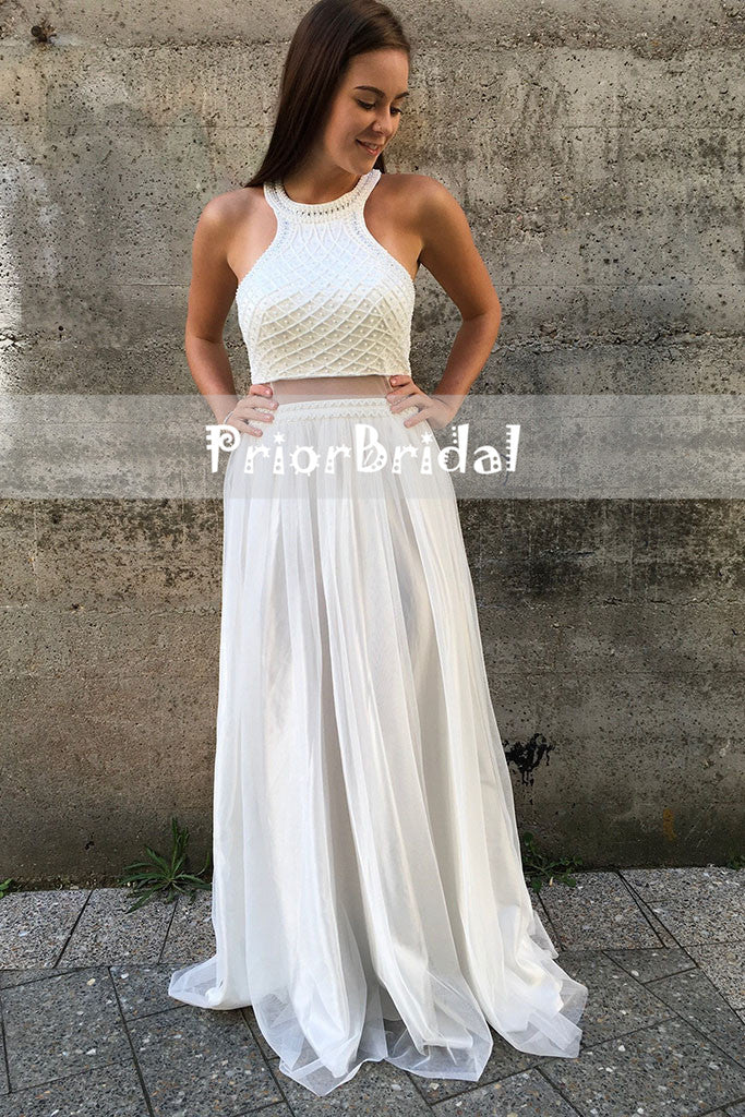 89f1c41c5c8 ... Ivory Stunning Two Piece Halter Beaded Top Open Back Junior Prom Dresses