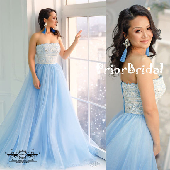 Straight Across White Lace Beaded Top Pale Blue Tulle Bottom Prom Dresses,PB1050