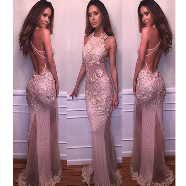 Long Mermaid Vintage Lace Appliques Hater Sleeveless Sexy Formal Prom Dresses. RG025