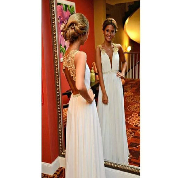 Popular White Open Back Deep V-Neck Simple Evening Party Prom Dresses. RG0040