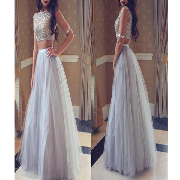 Grey Two Pieces Sparkly Classy Cheap Ball Gown Pretty For Teens Prom Dresses. RG0114