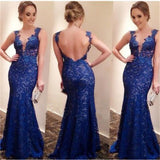 Long Blue Lace Sheath Sexy Backless Evening Mermaid Prom Dresses Online,PD0110