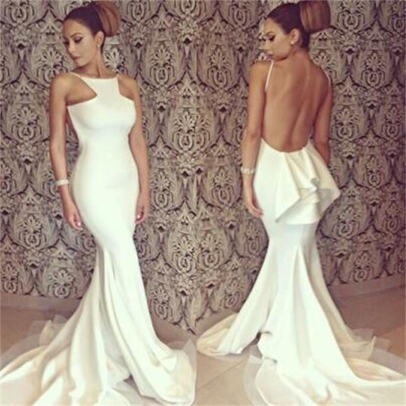 25f08988bc4 Long White Sexy Backless Mermaid Elegant Formal Party Evening Party Prom  Dresses Online