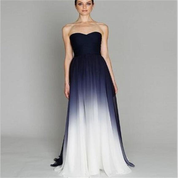 Long Strapless Gradient Chiffon Simple Discount Bridesmaid Prom Dresses Online,PD0137