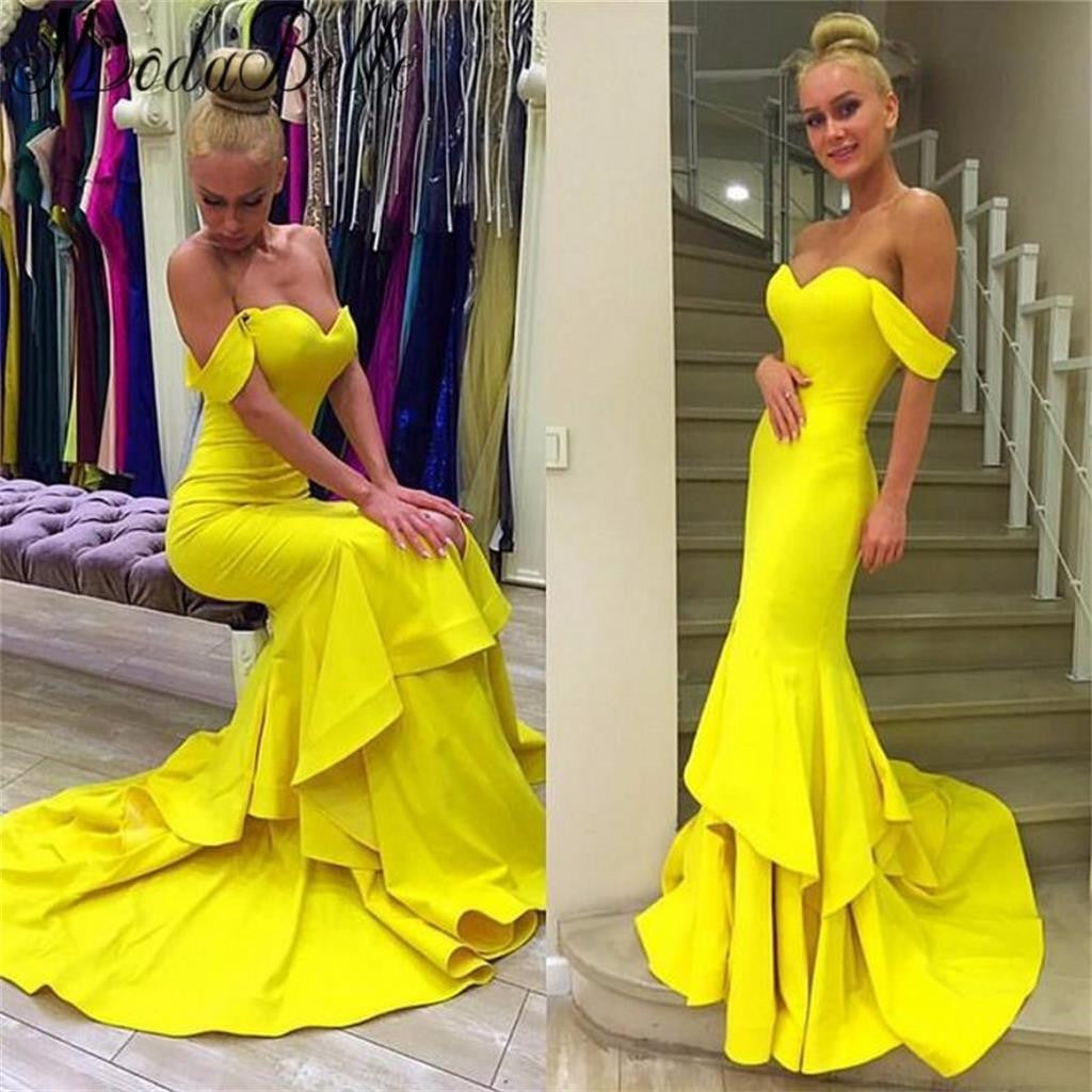 Long Yellow Mermaid Off Shoulder Sweetheart Evening Party Gown Cocktail Prom Dresses Online,PD0162