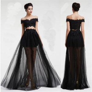 3b74798b706 Long Black Two Pieces Tulle Off Shoulder With lace Cocktail Prom Dress –  PriorBridal