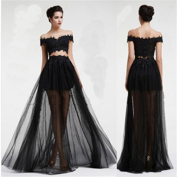 Long Black Two Pieces Tulle Off Shoulder With lace Cocktail Prom Dress ,PD0171