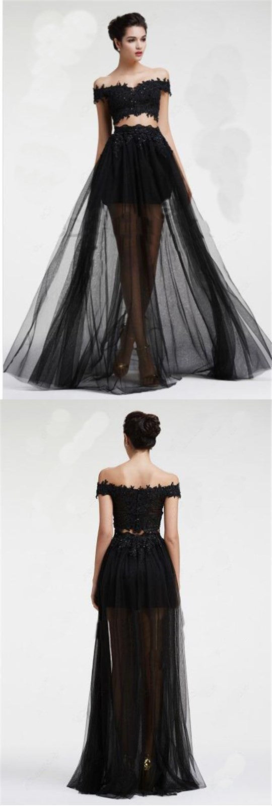 Long Black Two Pieces Tulle Off Shoulder With lace Cocktail Prom ...