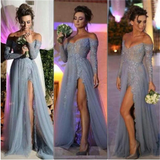 Popular Gray Off Shoulder Lace Side Slit Sexy Elegant Prom Dress. PD0021