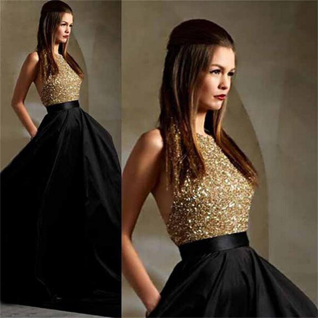 Long Black Party A-line Ball Gown Gold Backless Sparkly Formal Prom Dress , PD0023