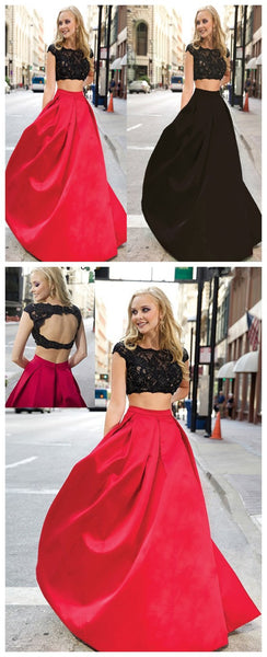 Two Pieces Lace Mismatched Ball Gown Affordable Red Black Prom Dress ,PD0043