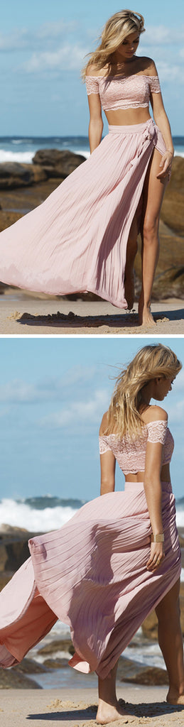 Long Two Pieces Off Shoulder Side Slit Sexy A-line Pink Prom Dress,PD0050