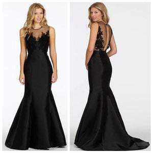 Long Black Mermaid Elegant Formal Simple Evening Prom Dress,PD0052