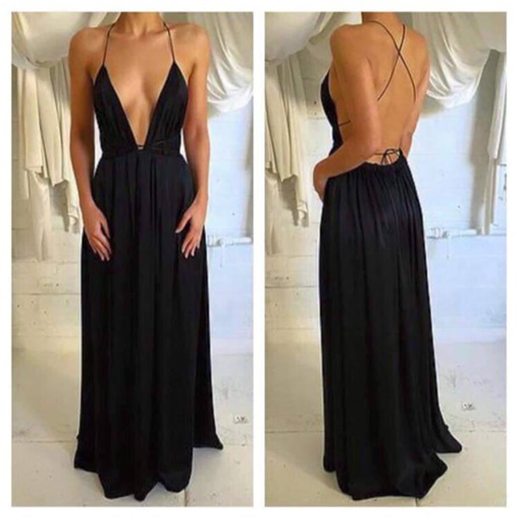 ab270891572 Long Black Spaghetti Straps Simple Deep V-neck Open Back Sexy Party Pr –  PriorBridal
