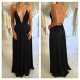 Long Black Spaghetti Straps Simple Deep V-neck Open Back Sexy Party Prom Dress,PD0060