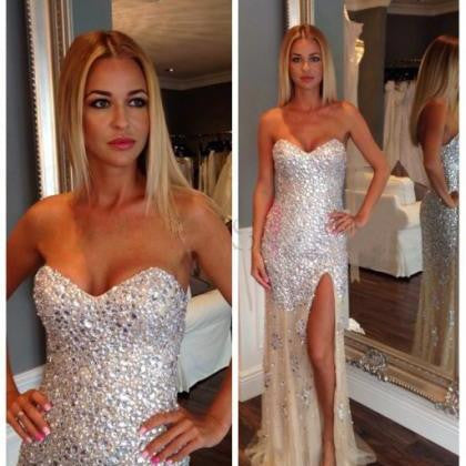 Long Sparkly Mermaid Charming Slip Side Evening Party Prom Dresses Online,PD0098