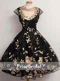 Black Golden Leaves Appliques Stunning Cap Sleeves Homecoming Dresses , BD00212