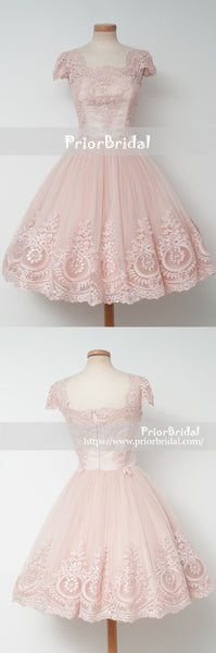 Blush Pink Lace Cap Sleeves Square Neck Homecoming Dresses, BD00219
