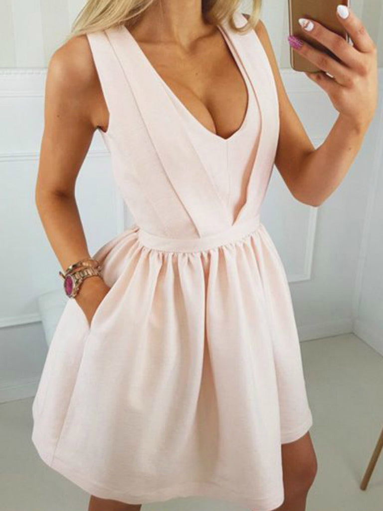Blush Pink Open Back Sleeveless Simple Homecoming Dresses , BD00226